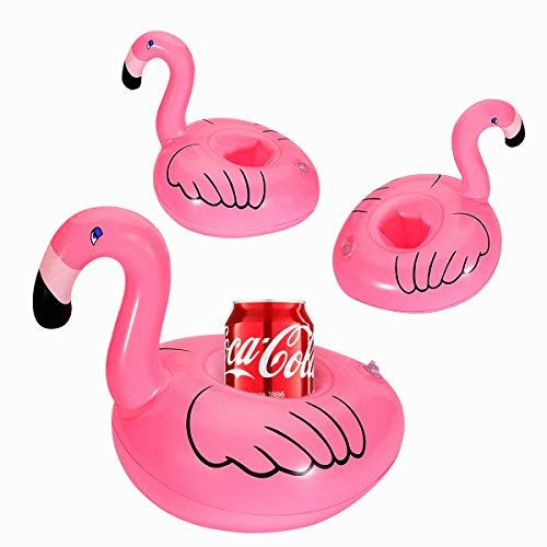 16 PCS Inflatable Flamingo Coasters Cup Drink Holders with