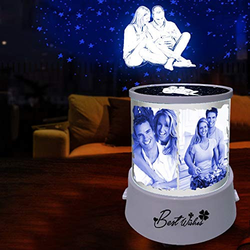 3 Color Star Projection Lamp with 6 Photos Personalized USB