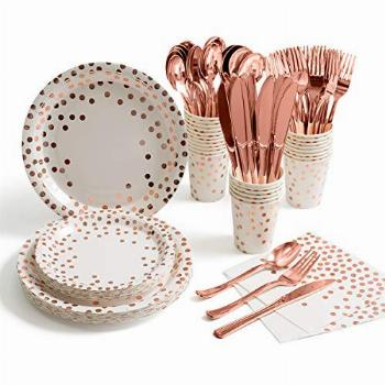 175 Pieces Rose Gold Party Supplies - Rose Gold Dot on White