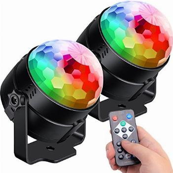 [2-Pack] Sound Activated Party Lights with Remote Control Dj