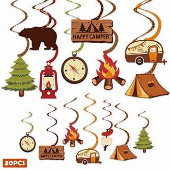 30CT Happy Camper Party Hanging Swirls Decoration Camping