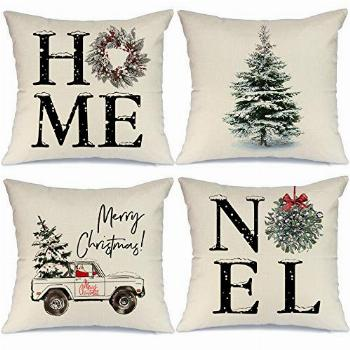 AENEY Christmas Decorations Pillow Covers 18x18 Set of 4,