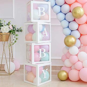 Baby Shower Blocks with Letters, Baby Reveal Balloon Blocks