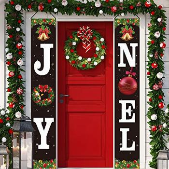 Christmas Decorations Joy Noel Porch Signs Banners Red Large