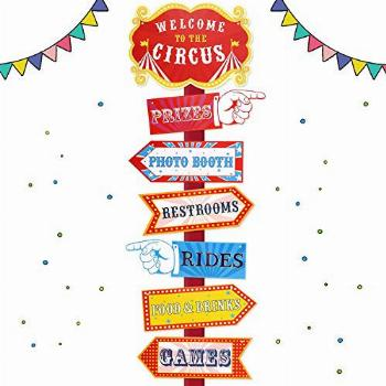 Circus Carnival Birthday Party Directional Signs, Large Size