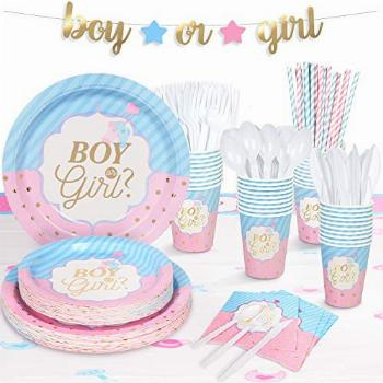 Decorlife Baby Gender Reveal Party Supplies Serves 24, Cute