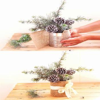 Enchanting 10 Minute  snowy tree winter & Christmas DIY table decoration for almost  free,  beautif