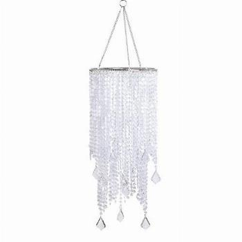 FlavorThings 2 Tiers Clear Beaded Hanging Chandelier Light
