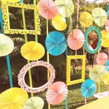 light blue and yellow , photoobooth backdrop, photo booth backdrop, fan backdrop, paper decor, DIY