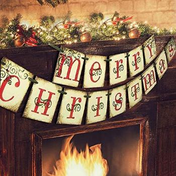Merry Christmas Banner - Vintage Xmas Decorations Indoor for
