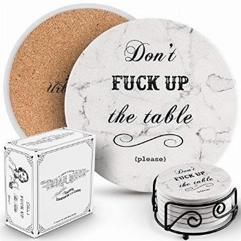 Urban Mosh Funny Coasters for Drinks - Absorbent Ceramic