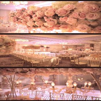 White and Soft Pink Reception Decorations - Reception Decor This wedding reception featured tall fl