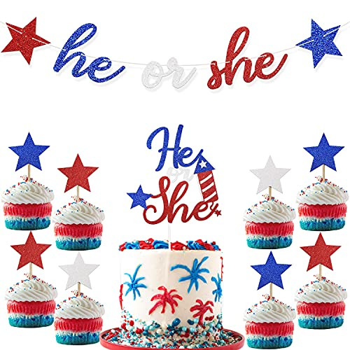 4th of July Gender Reveal He or She Banner Cake Cupcake