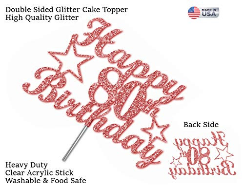 80 Birthday Rose Gold Glitter Cake Topper, 80th Party