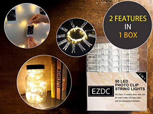 EZDC 50 LED Photo Clip String Lights, Fairy Lights with