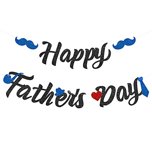 Glitter Happy Fathers Day Banner Dads Papas Day Party
