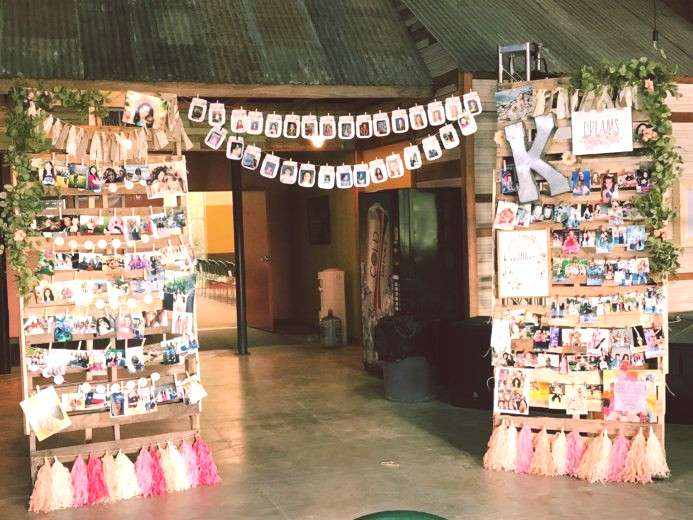 Grad Party Picture Collage Wall Photo display idea. Easy DIY Graduation Party Decoration Ideas usin