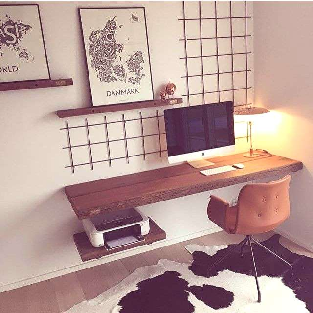 Inspiration for the study - desk for wall mounting, keep small ...