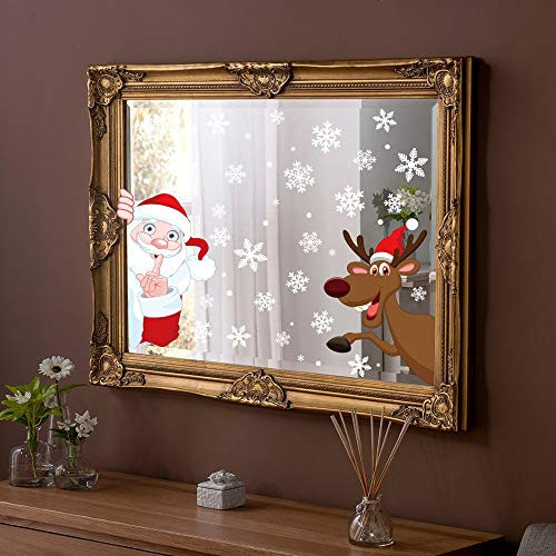 Moon Boat 320PCS Christmas Snowflakes Window Clings Decals