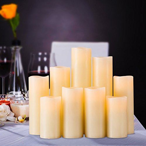RY King Battery Operated Flameless Candle Set of 9 Real Wax