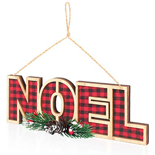 WizPower Hanging Sign, Noel Decoration Plaid Wooden Xmas