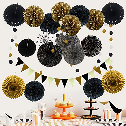 ZERODECO Party Decoration, 21 Pcs Black and Gold Hanging